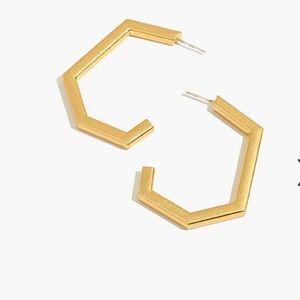 Madewell Angular Hoop Earrings NWT Gold